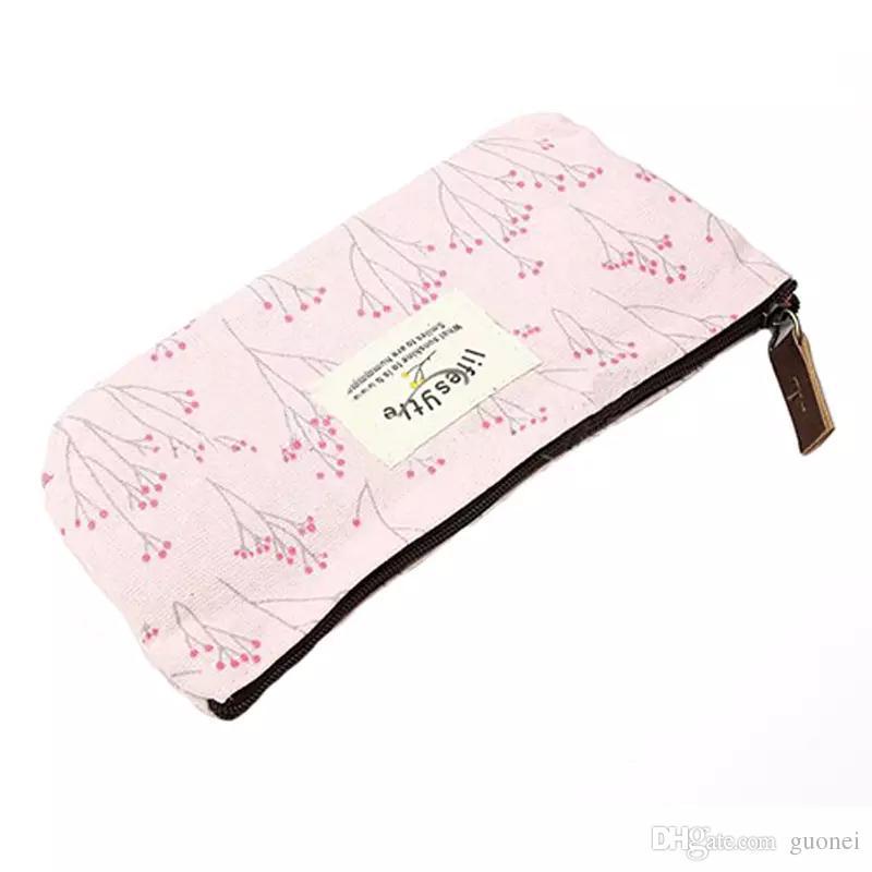 2017 Caldo-vendita floreale del fiore di matita della penna di caso della tela di canapa cosmetico di trucco Tool Bag contenitore borsa borsa 3 stili