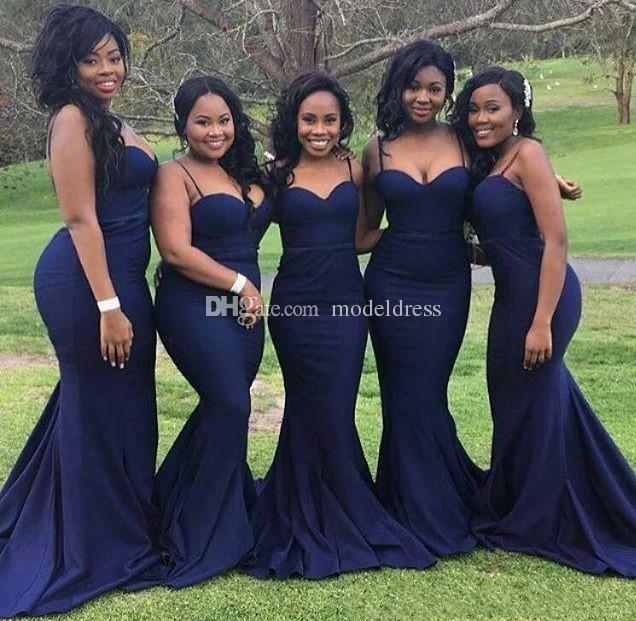 2019 Dark Navy African Bridesmaid Dresses Spaghetti Mermaid Long Formal Maid of Honor Wedding Guest Dresses Cheap Plus Size Custom Made