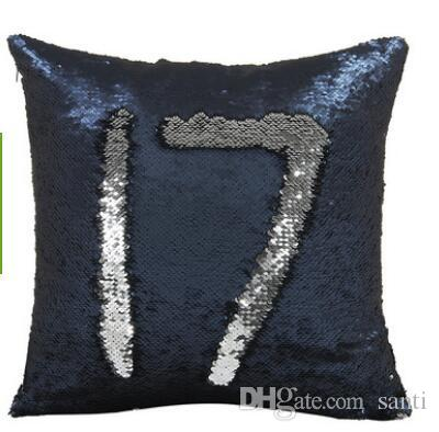 Textiles para el hogar Sirena caliente Funda de cojín de lentejuelas Magical Pink Throw Funda de almohada 40cmX40cm Color cambiante funda de almohada reversible