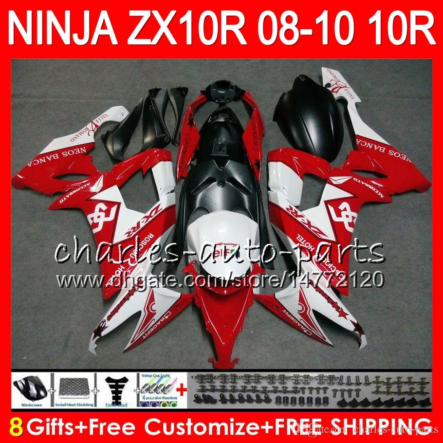 8Gifts Body For KAWASAKI NINJA ZX 10 R ZX10R 08 09 10 47HM18 ZX 10R red white ZX1000 C ZX1000C ZX-10R 2008 2009 2010 Fairing kit