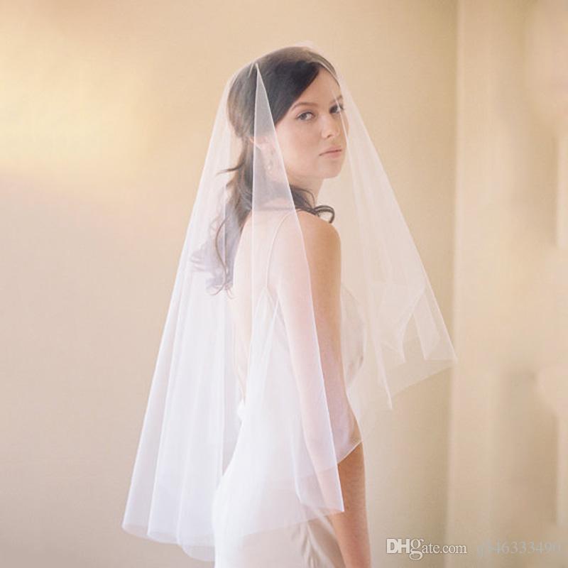Слой 1 Свадебные Аксессуары Вуаль Слоновой Кости Белый Вырезать Край Локоть Свадебные Вуали Без Гребня