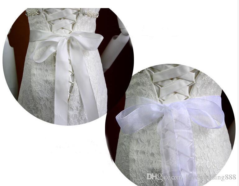 2019 Perlas Brillantes Diamantes Fajas de novia de cristal Cinturones de boda huecos Accesorios de color blanco 5.5 cm * 28 cm de largo Marco nupcial be19