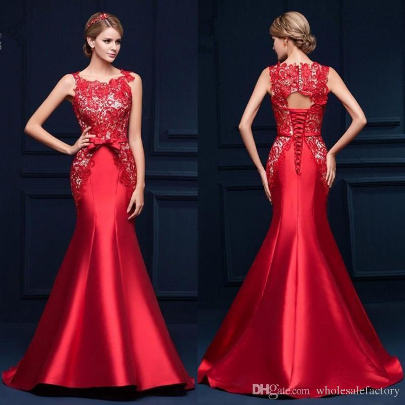 2017 New Elegant Red Lace Mermaid Evening Dresses Cheap Formal Lace ...