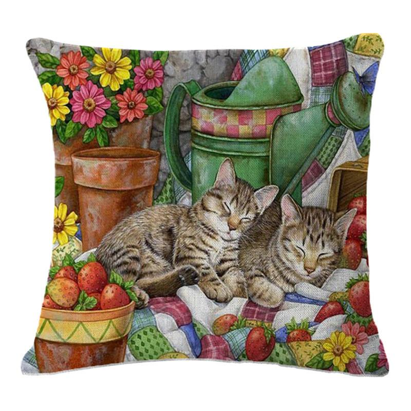 Cute Cat Cushion Cover Printed Oil Painting Animals Cats Pillowcase for Bed Seat Sofa Chair Car Living Room Home Decorative Linen Pillow Cas