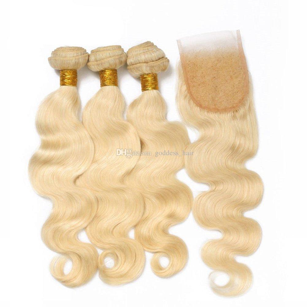 613 cheveux blonds vierges de la Russie avec fermeture 3 faisceaux avec 4 * 4 fermeture des cheveux en dentelle de la vague supérieure du corps avec fermeture libre