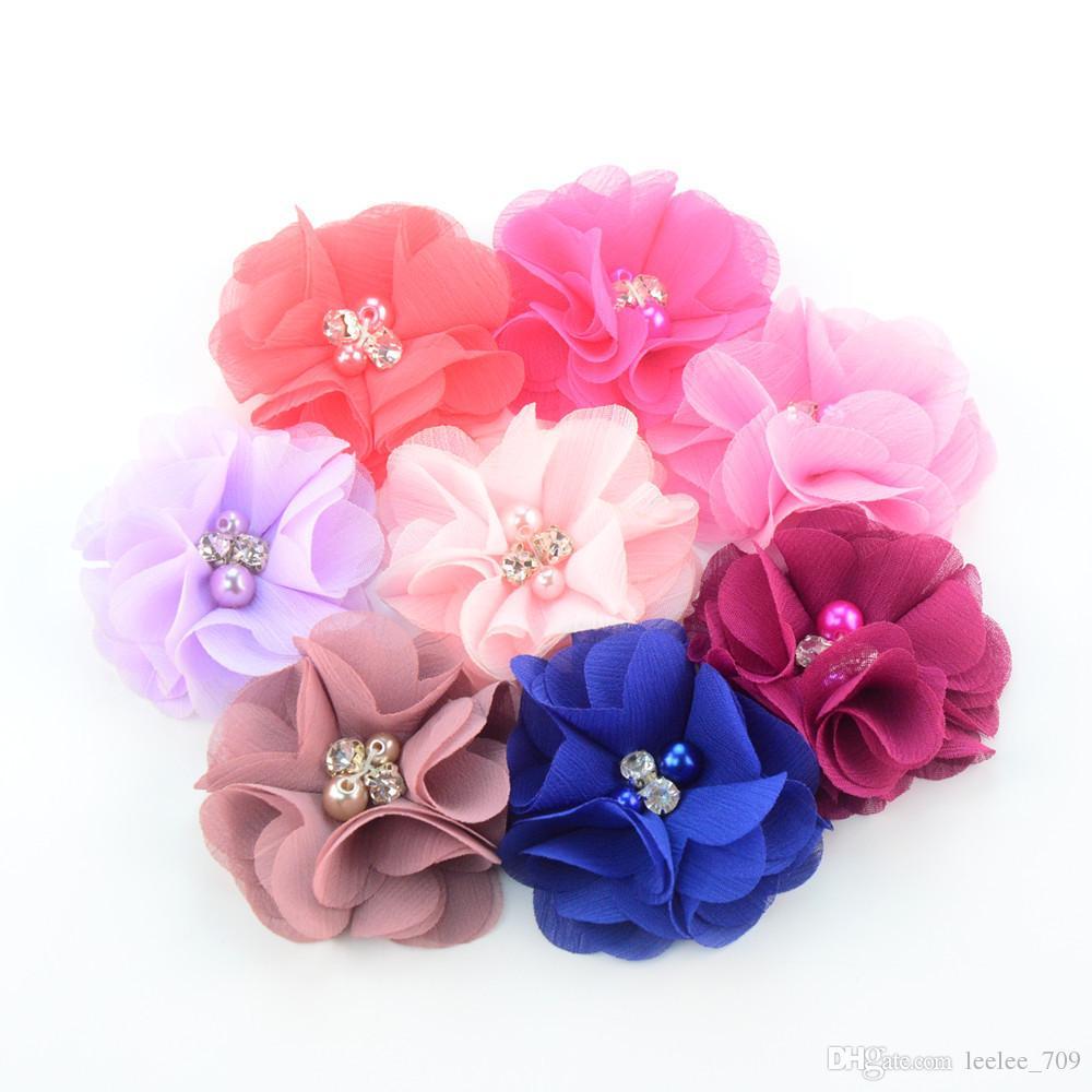 Chiffon Flowers With Pearl Rhinestone Center Artificial Flower Fabric Flowers Children Hair Accessories Baby Headbands Flower