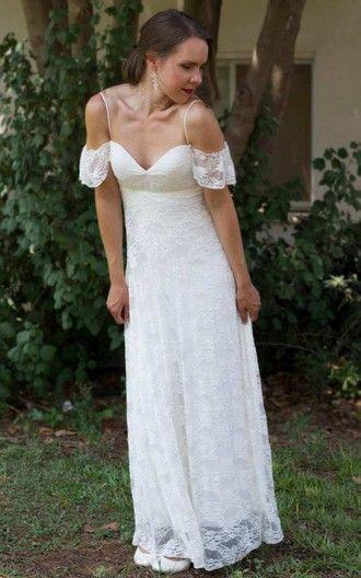 Простой длинный пол оболочки кружева свадебные платья дешевые 2017 спагетти ремни спинки весна лето свадебные платья
