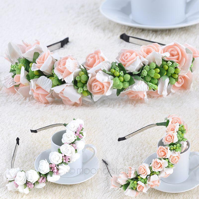 2018 Pink/White Flower Garland Boho Floral Headband Headwear Garland ...