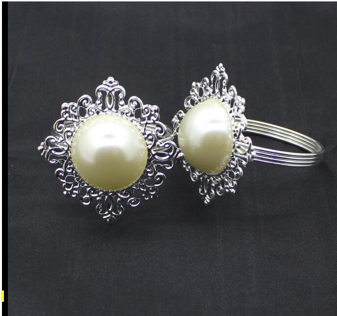 Clear Gem Napkin Ring Silver-tone Metal Rings Best Quanlity Hotel Party Wedding Favor Favour Supplies DHL