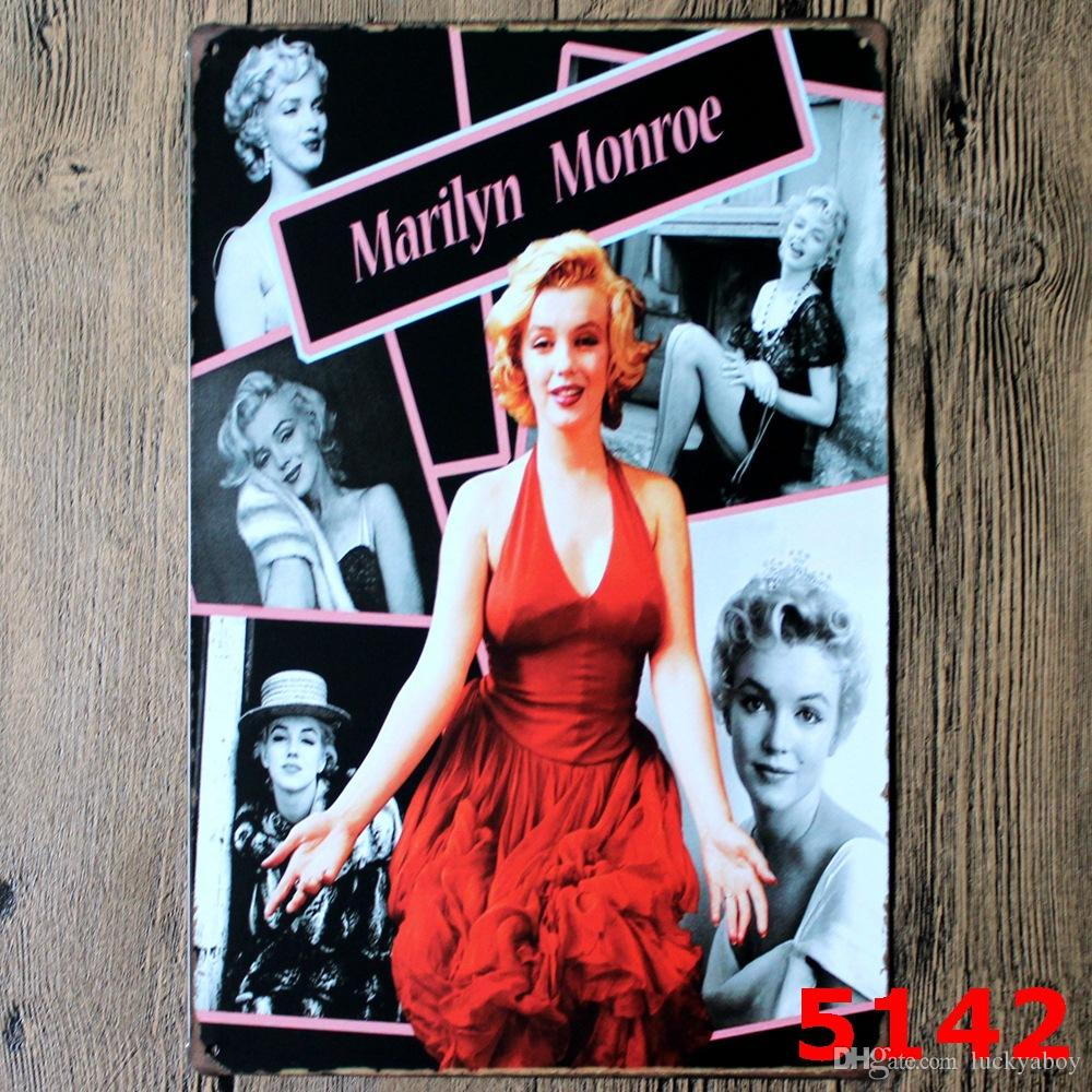 Marilyn Monroe Poster Wall Decor Bar Home Vintage Craft Gift Art 12x8in Iron painting Tin Poster 30X20cmMixed designs