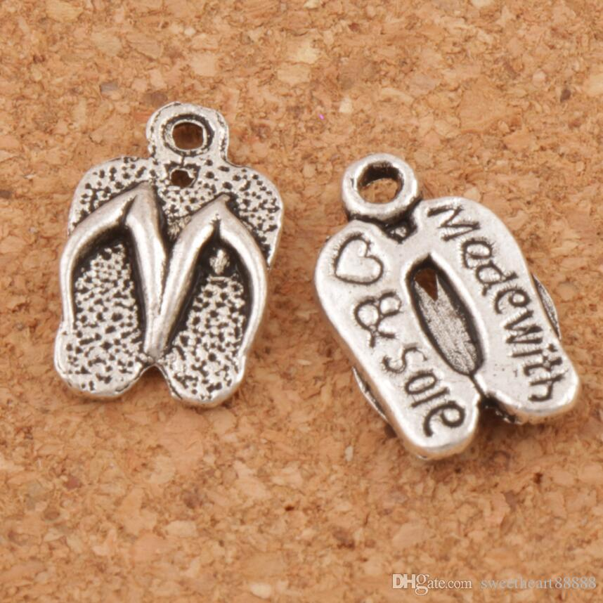 Flip Flops Made With Love Spacer Charm Beads 300pcs/lot Antique Silver Pendants Alloy Handmade Jewelry DIY 12.6x9.4mm L401