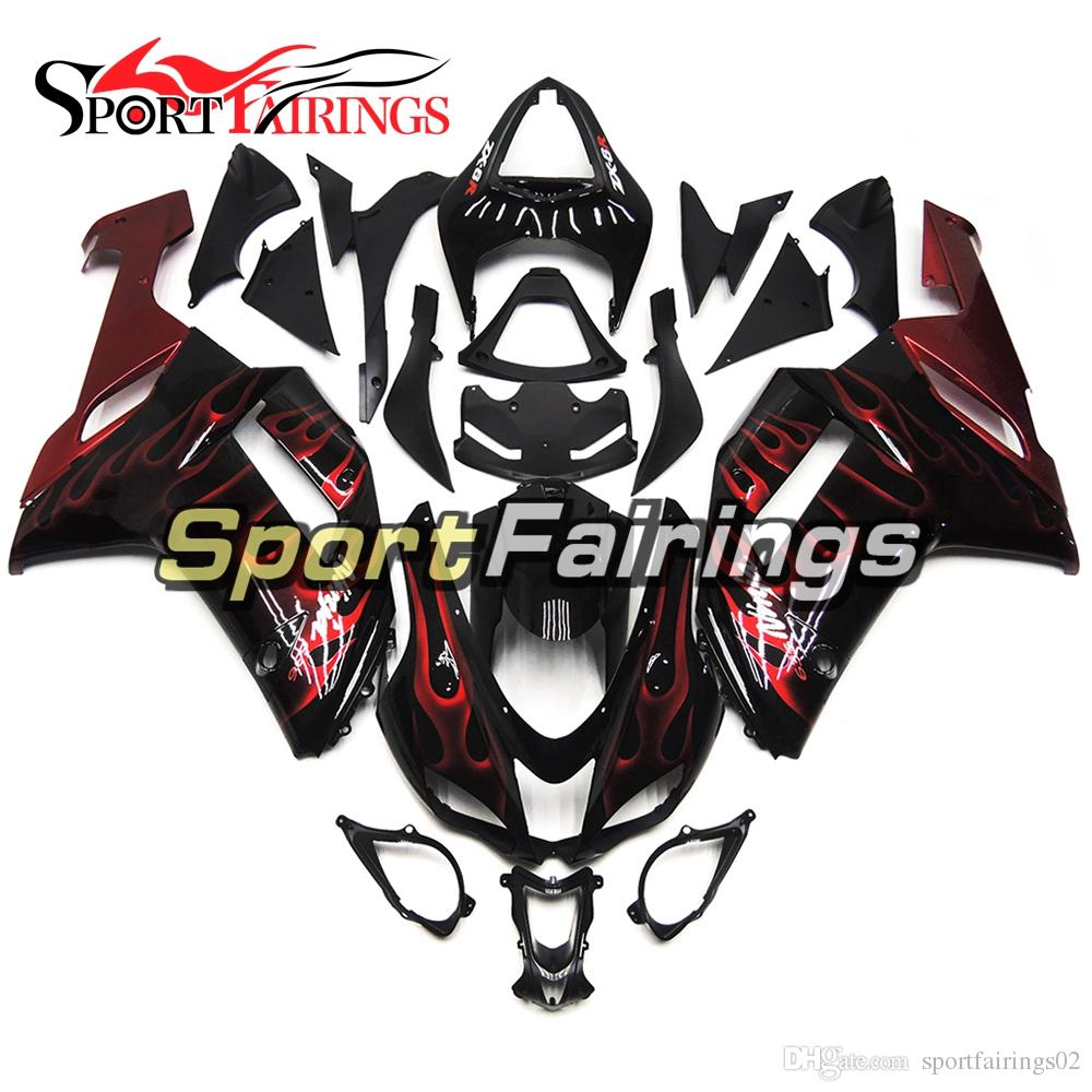 Black Red Flames Injection Fairings For Kawasaki ZX6R 636 07 08 2007 2008 ABS Plastic Motorcycle Full Fairing Kit Cowlings Body Frames
