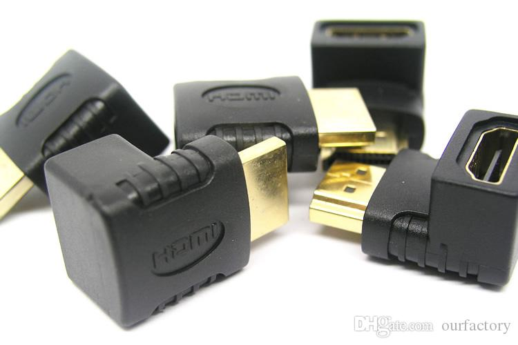 Black HDMI Male to Female Converter Adapter HDMI M/F L Shaped Right Angle 90 Degree Elbow Video Adapter Connector