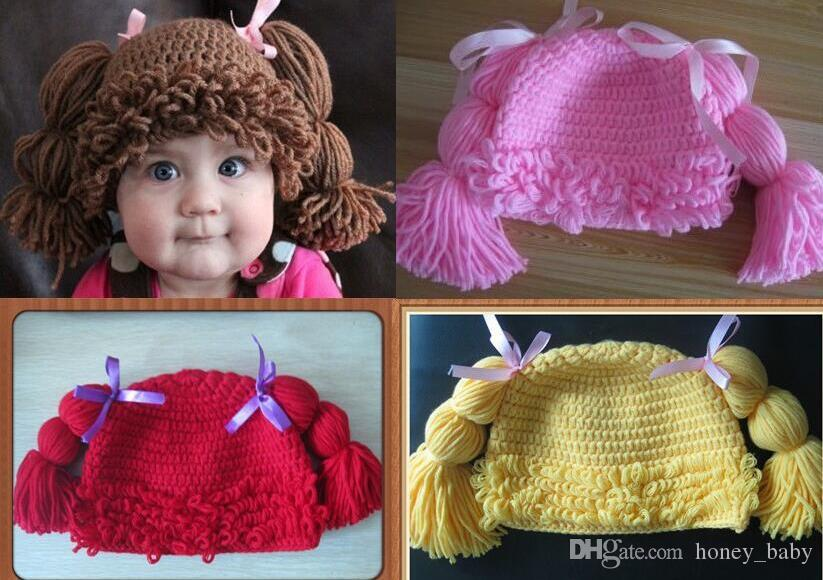 2019 Handmade Crochet Baby Girl Wigs Cabbage Patch Pigtail Hat Newborn  Infant Toddler Princess Curly Hair Knitted Cap Children Beanie 100% Cotton  From ... 5e9327eae08c