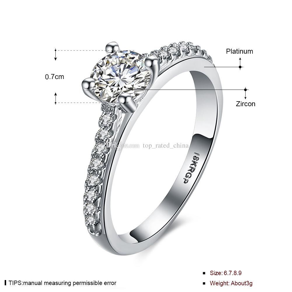 Fashion 925 Sterling silver plated diamante zircon crystal wedding Bridal jewelry women wedding rings LKN18KRGPR818-C-8