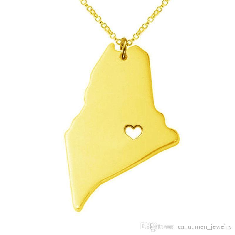 Collar colgante de acero inoxidable con mapa de Maine con Love Heart EE. UU. Estado Geografía Collares con collares Joyas para mujeres y hombres