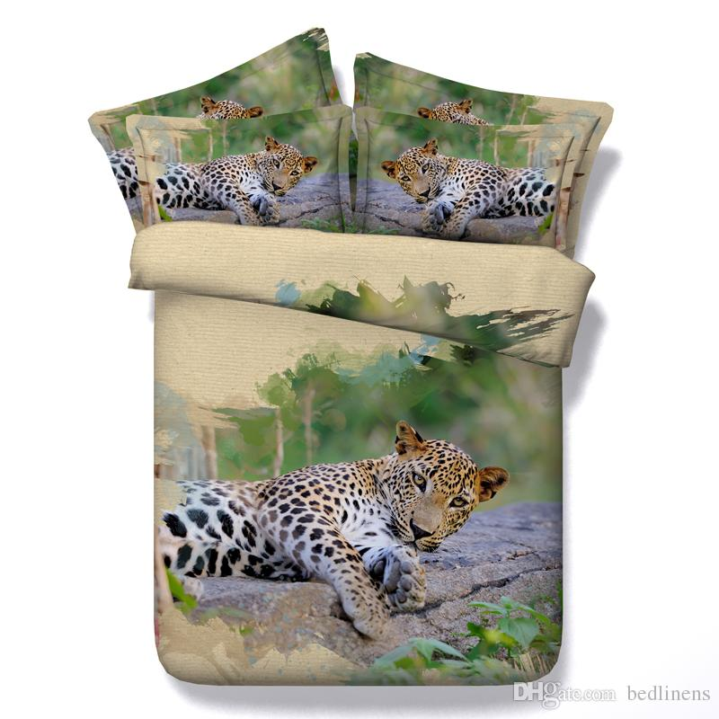 Fashion Sleeping Leopard 3D Printed Bedding Sets Twin Full Queen King Size Bedspreads Bedclothes Duvet Covers Pillow Shams Comforter Animal