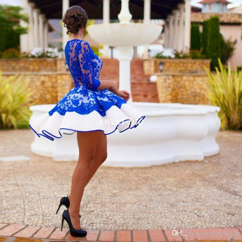2020 Sexy Lace Mini Party Kleider Royal Blue Short Lace Prom Kleider Halbarm Homecoming Kleid