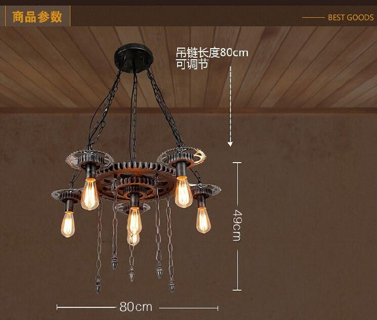 Vintage Loft Iron Gear Pendant Light Industrial Water Pipe Pendant Lamp Hanging Light Fixtures Suspension Bar Cafe Wrought Iron Pendant Lamp