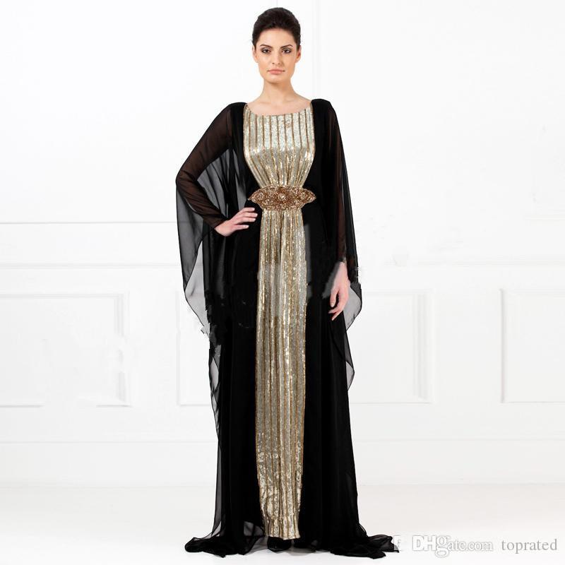2019 Evening Gowns Black Chiffon Gold Sequins Abayas Arabic Dubai Muslim Kaftan Dresses A-Line Crystals Mother of the Bride Evening Dresses