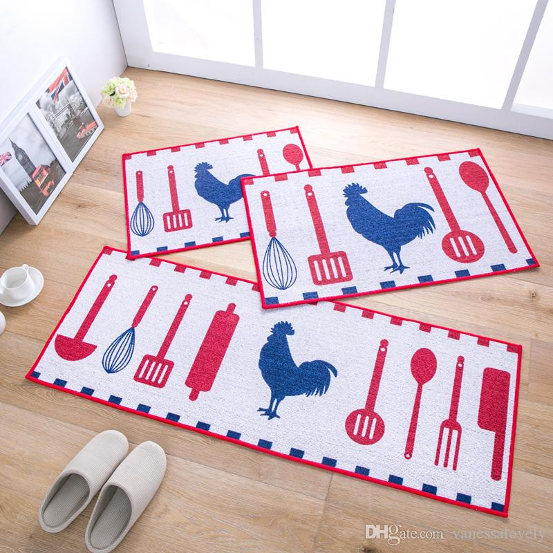 Mat For Home Parlor Bedroom Living Room 9 Dimensions: 45x60CM Cartoon Cooking Pattern Kitchen Area Carpet Slip