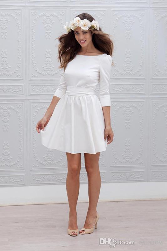 0f8c96775aa Acheter 2017 Nouveau Blanc Court Mini A Ligne Robes De Mariée 3 4 Manches  Ceinture Simple Sexy Dos Ouvert Casual Casual Robe De Mariée Sur Mesure De   77.43 ...