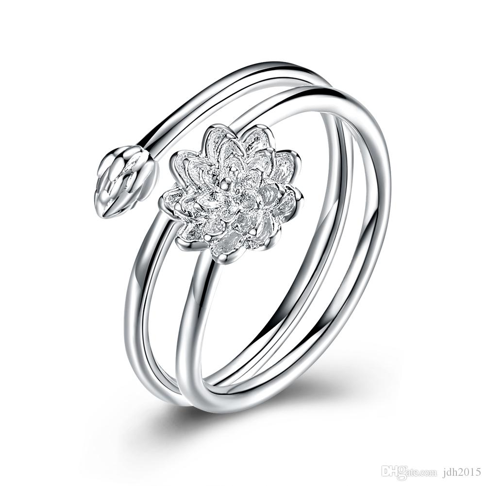 Dainty silver winding shape lotus flower ring deco band us size8 dainty silver winding shape lotus flower ring deco band us size8 wedding bands for men oval engagement rings from jdh2015 403 dhgate mightylinksfo