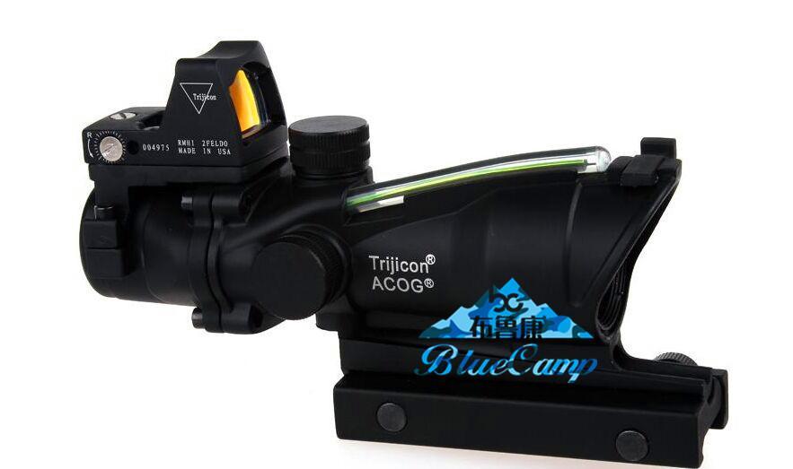Trijicon TA31 ACOG 작풍 4X32 전술상 범위 광섬유 녹색 점등 된 RMR / 적색 도트 사냥 용 라이플 스코프 용