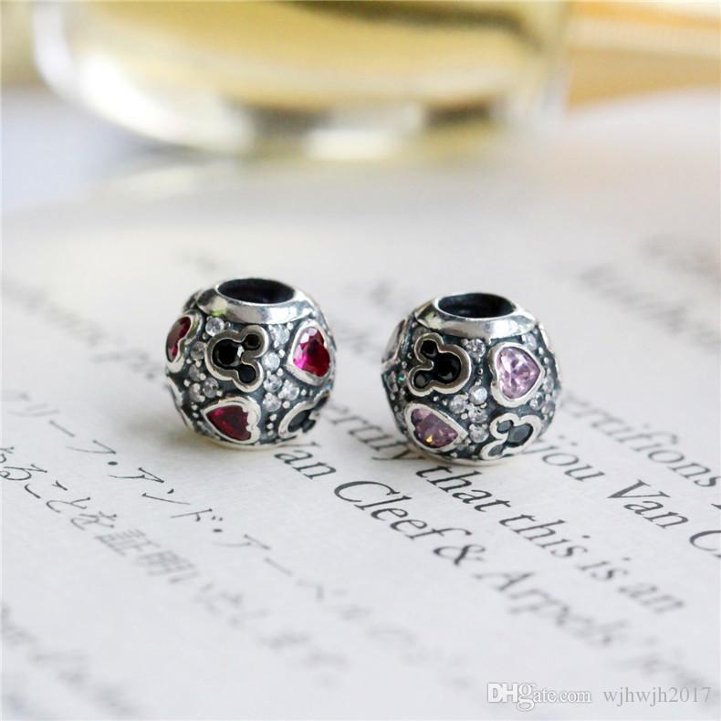 New Sparkling Mic-key Hearts Charm perline Adatto Pandora Bracciali Autentico 925 Sterling Silver Rosso Nero Pavimenta il Fascino di Cristallo Gioielli FAI DA TE HB266