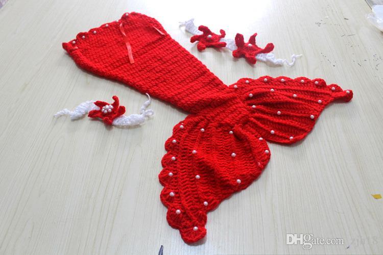 Newborn photo fancy props knitting mermaid skirt starfish headwear knitting bra baby photo shooting accessories