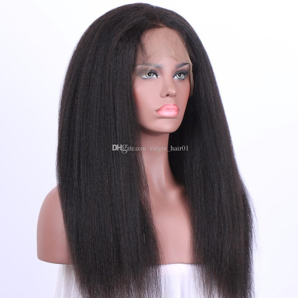 Parrucca anteriore del merletto diritta crespa 360 Parrucca con capelli del bambino Parrucche dei capelli umani di Remy brasiliani Parrucca diritta leggera del pizzo di Yaki 360 le donne nere