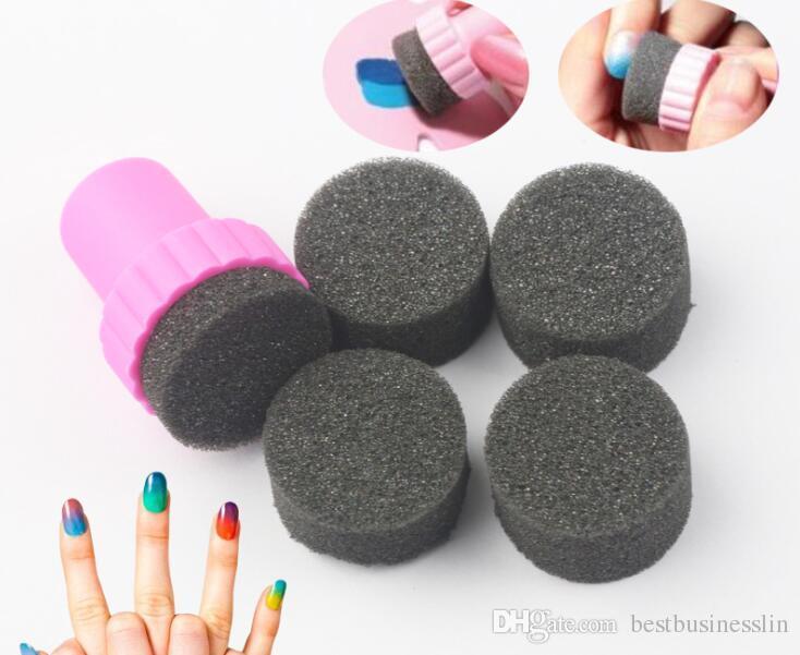 Doux Éponge Couleur Fade Nail Plate Naturel Magique Simple Créatif Nail Design Manucure Nail Art Timbre Outils Nouvel An Cadeau
