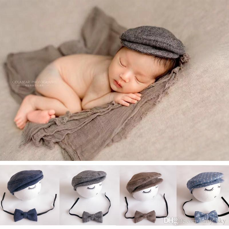 88ed232ebb015 2019 Newborn Hat Bow Tie Set Baby Peaked Cap For Boys Fashion Infant  Photograph Props Mix Color New From Baby sky