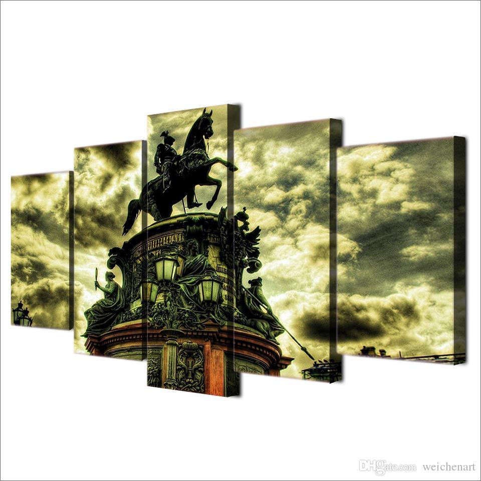 5 Teile / satz Gerahmte HD Gedruckt Gebäude Pferd Statue Wandkunst Bild Moderne Dekoration Wohnzimmer Leinwand Paintingi