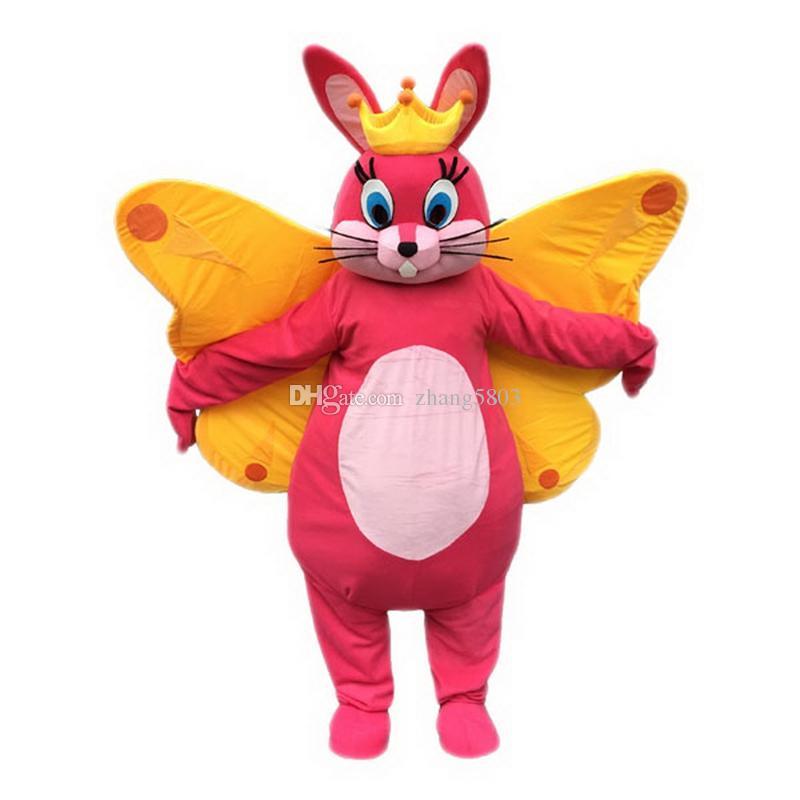 Dibujos animados de Butterfly Bunny Mascot, fotos físicas de fábrica, calidad garantizada, alta calidad