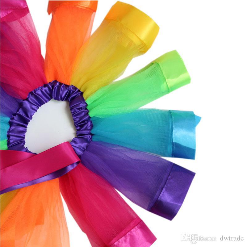 Bambini Rainbow Tutu Abiti New Kids Pizzo Principessa Gonna Pettiskirt Ruffle Ballet Dancewear Gonna Abbigliamento Holloween