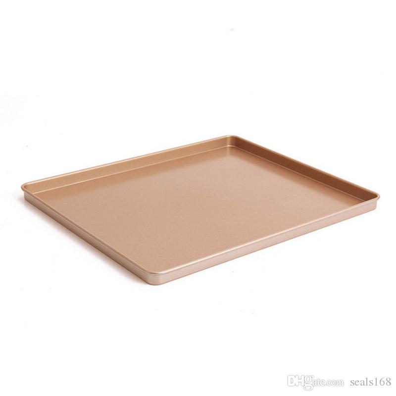 الخبز ورقة عموم كعكة الكعكة البيتزا صينية الخبز ورقة لوحة الذهب الكربون الصلب غير عصا مربع الخبز عموم يمكن أن توفر سفينة FBA HH7-876