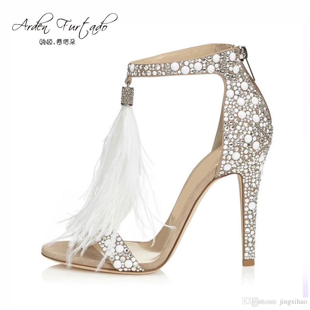 e16dea50212d 2017 Sexy Plus Size Summer Woman High Heel Sandals Genunin Leather  Rhinestone Feather Tassels Thin High Heel Women Wedding Shoes Stilettos  Stilettos Heel ...