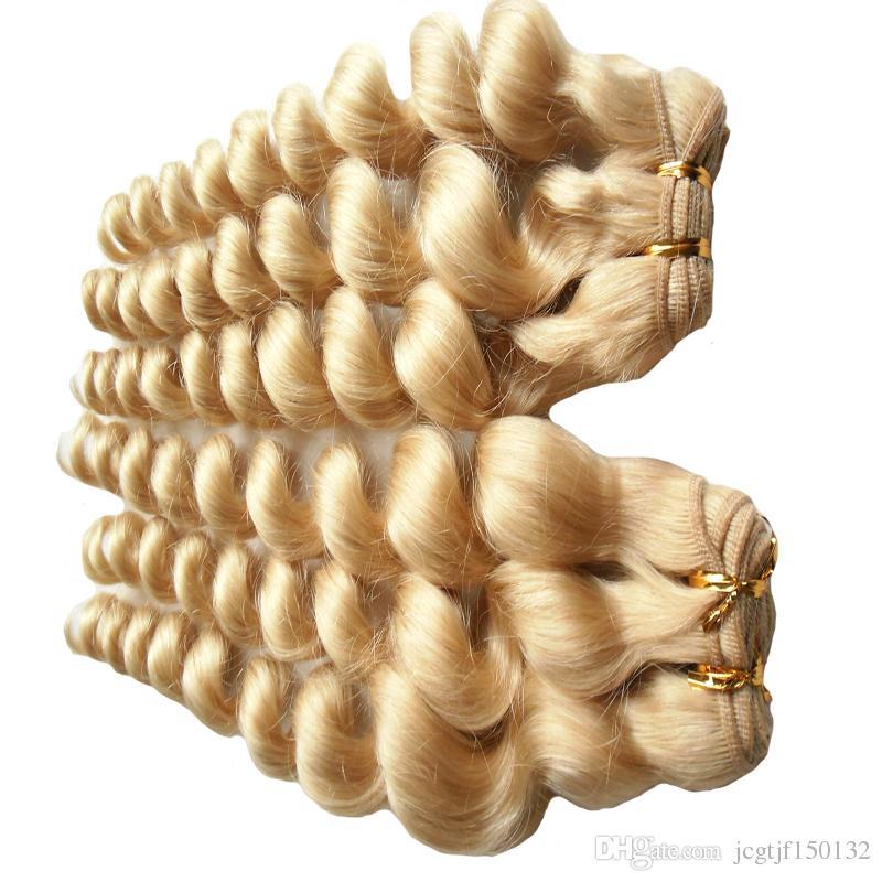 Блондинка человеческие волосы ткать 613 отбеливатель блондинка бразильский свободные волны девственные человеческие волосы ткать 2 шт. / лот двойной уток качество, без пролития, клубок бесплатно