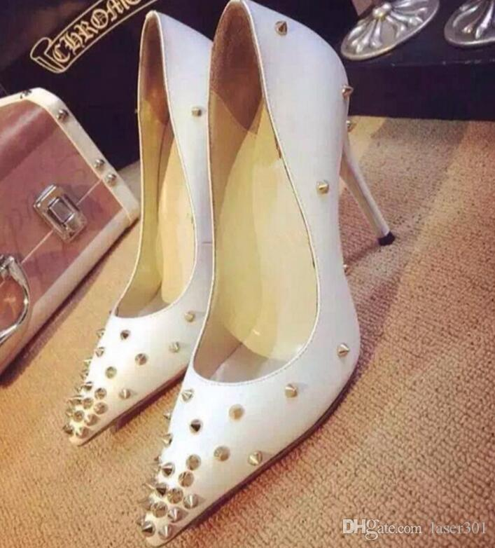 Hot Sales Front Rivets Red Bottom Women High Heels,Luxury Brand Pointed Toe Spiked Studded Shoes,Women Wedding Dress Shoes 34-44