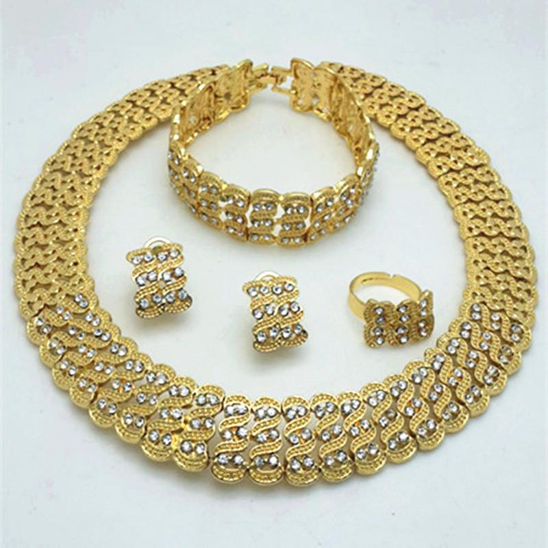 African Costume Jewelry Sets Gold Color Crystal Wedding Women