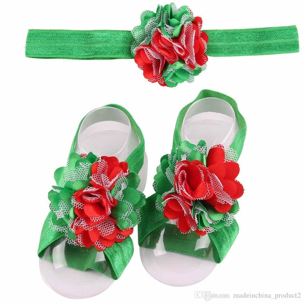 Newborn Flower Chiffon Headbands Baby Girls Barefoot Sandals and Headband Set Shoes Kids Tulle Foot Ornaments Child Infant Flower Socks