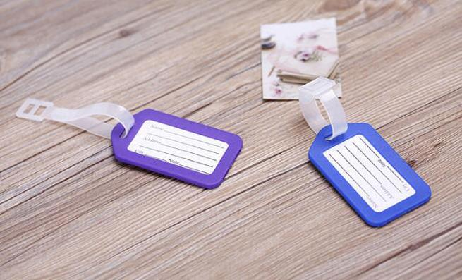 Travel accessories luggage tag hard PP baggage check in card size 9 by 5 name card bag tag colors available