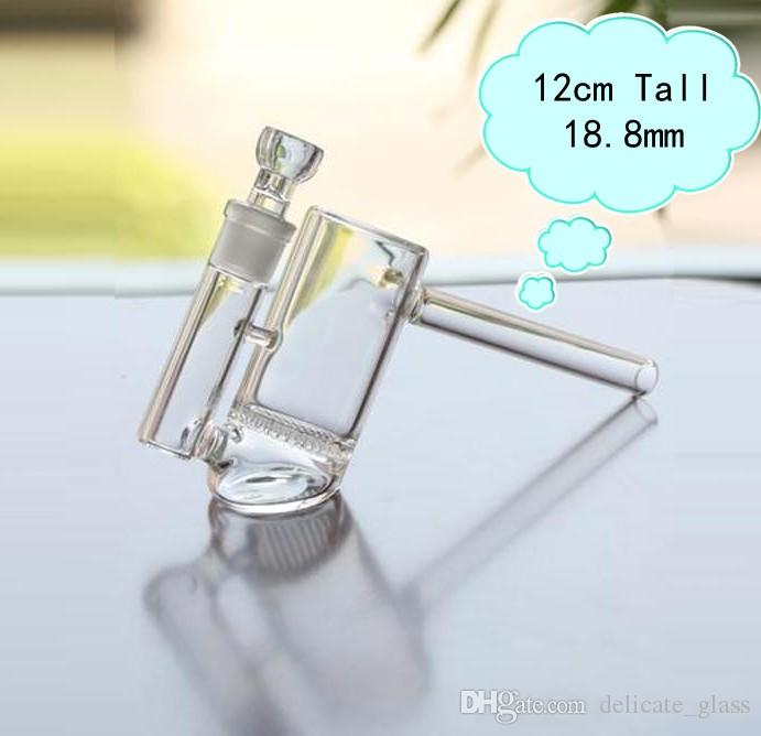 12cm Tall Mini Glass Bubbler Cheap turbine perc and honeycomb Glass Bongs Water Pipes Joint Size 18.8mm Recycle Oil Rigs Hookahs