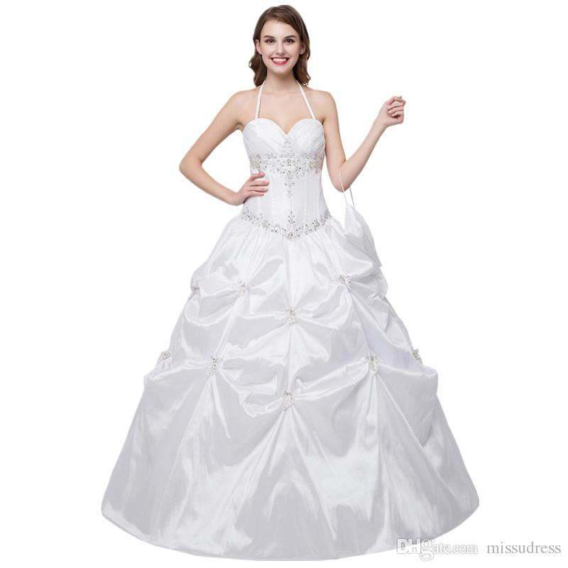 In Stock Sweetheart Halter Wedding Dress Embroidered Ball Gown ...