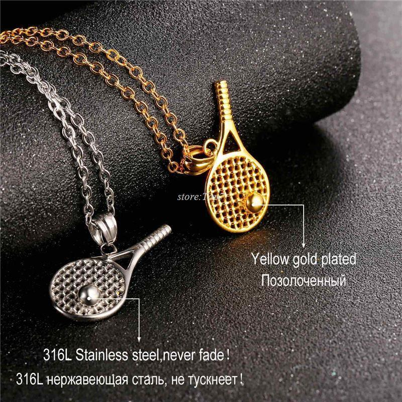 Wholesale tennis racket necklace for menwomen gift stainless steel wholesale tennis racket necklace for menwomen gift stainless steel gold color chain pendant kpop sport fitness jewelry new p1014 letter pendant necklace mozeypictures Image collections