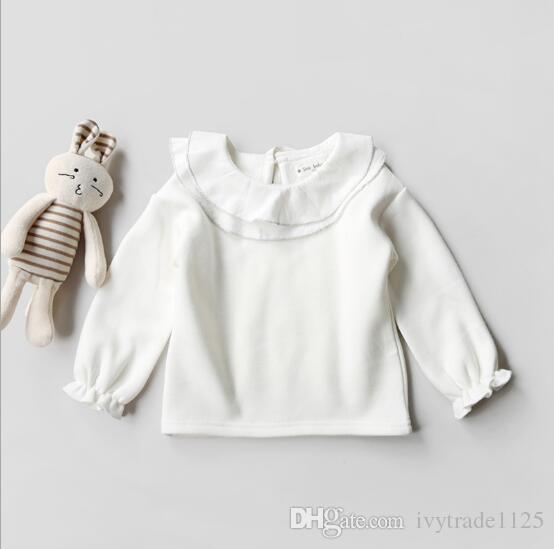 Ins Kore sevimli tarzı bebek kız sonbahar kalın T-shirt pet kalem yaka uzun kollu Beyaz renk T-shirt% 100% pamuk çocuklar sonbahar giyim