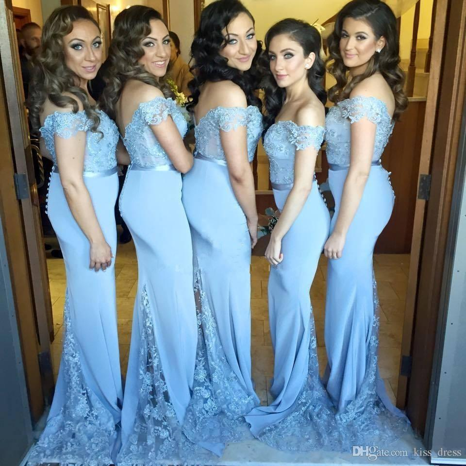 Off the shoulder light blue long bridesmaid dresses 2017 new off the shoulder light blue long bridesmaid dresses 2017 new applique sweep train elegant lace mermaid formal party gowns custom made b86 styles for ombrellifo Gallery