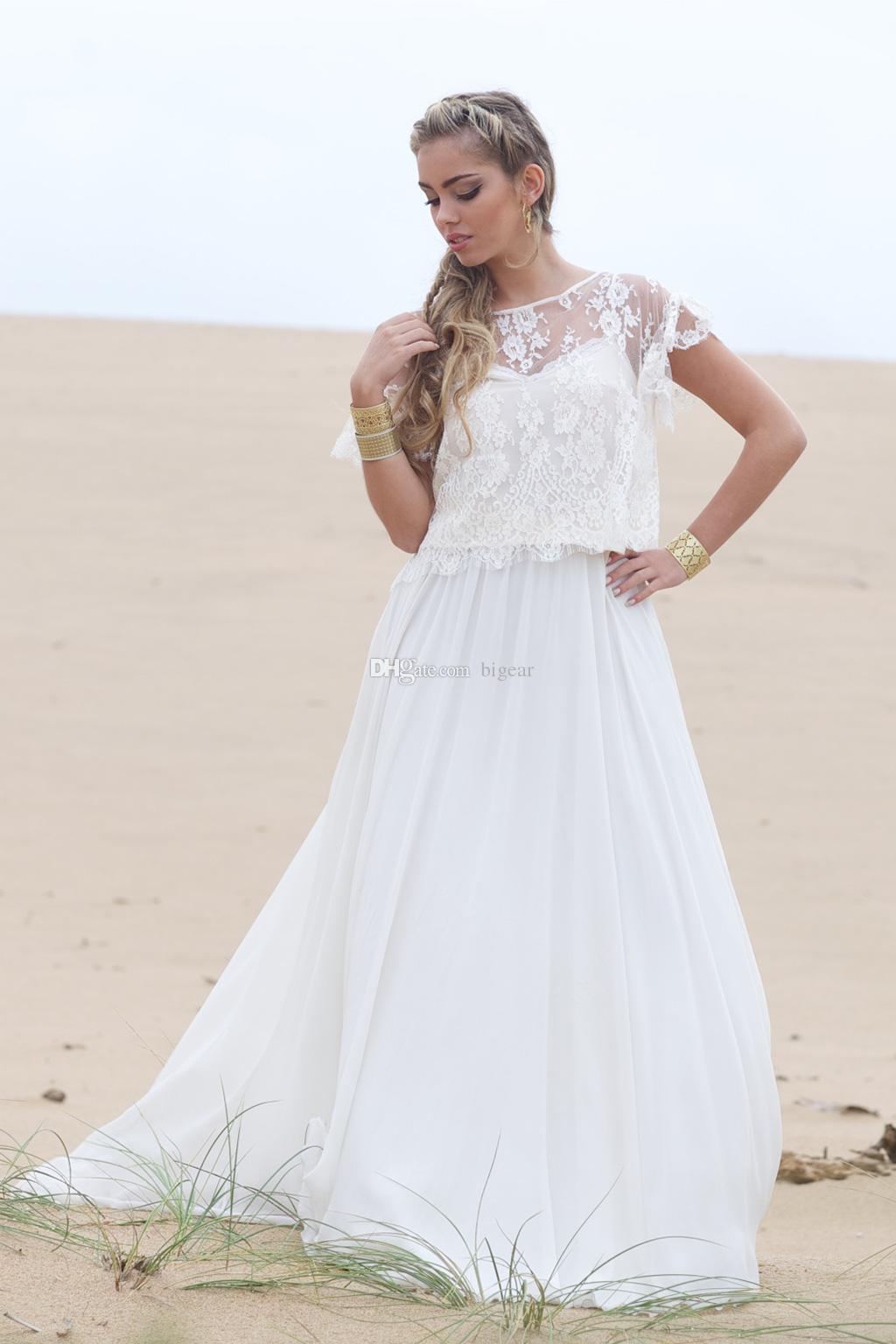 Großhandel Sommer Boho Hippie Beach Brautkleid Mit Spitze Jacke Von ...