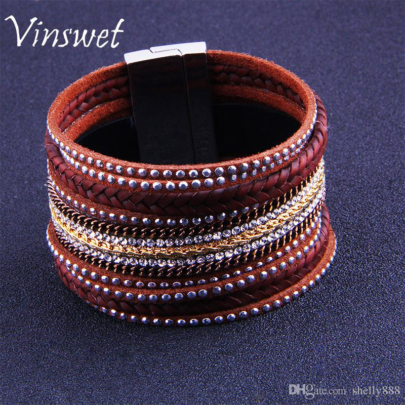 High quality diamond multi-layer leather bracelets beautiful pop punk magnetic buckle cool boy girl leather snap bracelet factory wholesale